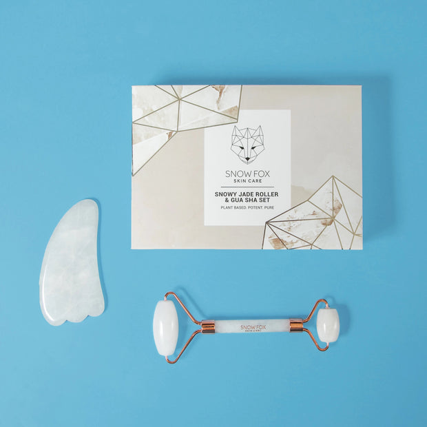 White Jade Roller and Gua Sha Set