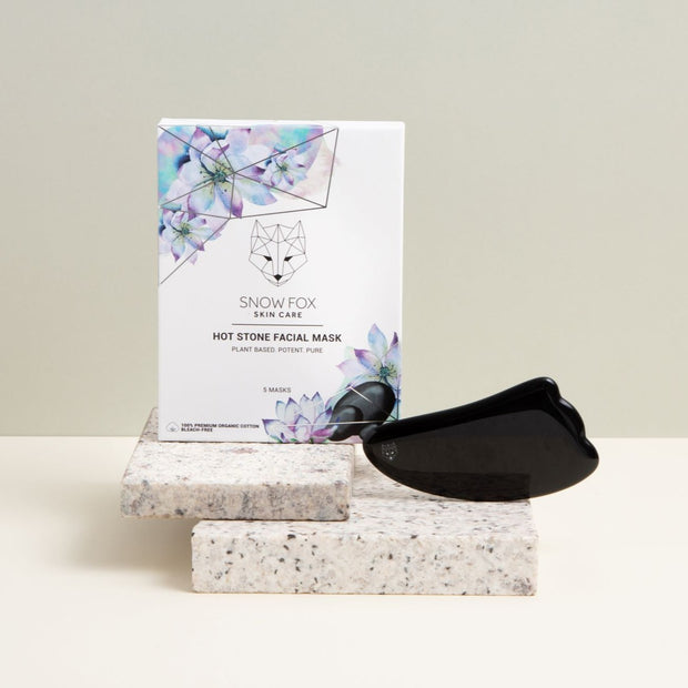 Hot Stone Facial Mask and Obsidian Gua Sha Set Snow Fox skincare