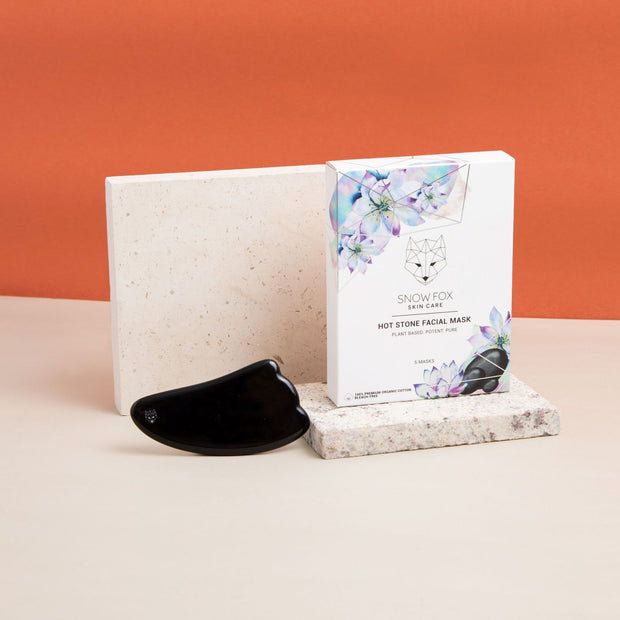 Hot Stone Facial Mask + Obsidian Gua Sha Set (With Free Mini Cleanser and Cream)