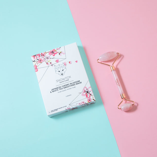 The Pink Spring Set Snow Fox skincare with 1 box of cherry blossom mask and Rose Quartz facial roller Snow Fox skincare