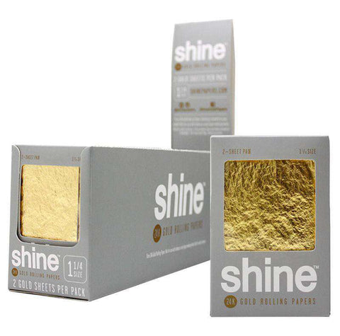 "Shine 1 1/4"" Size 2 Sheet Pack Gold Rolling Paper"