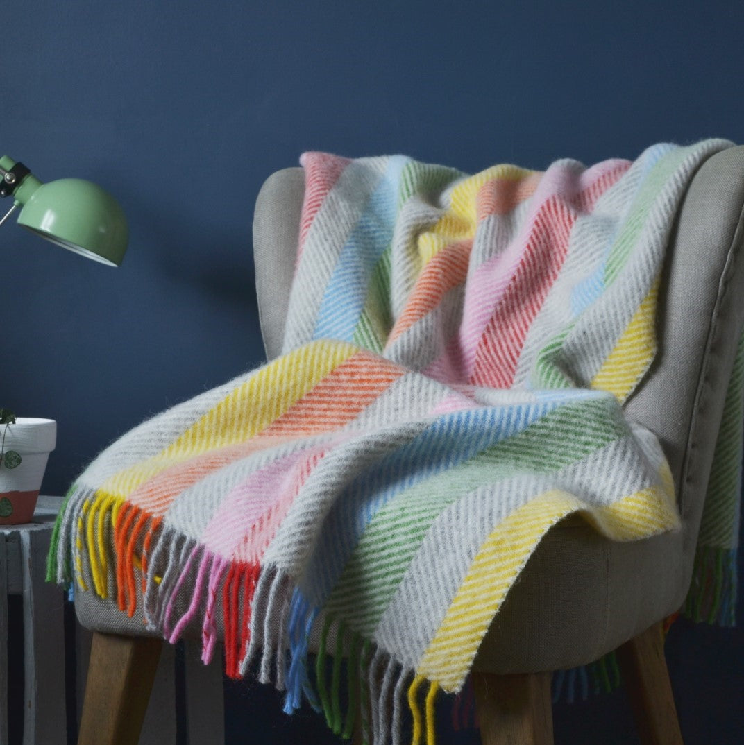 buy rainbow throw for grown-up rainbow interiors