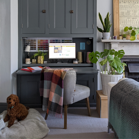 An alcove desk that can be closed up at night, like this one designed by The British Blanket Company's co-founder, Bethan, helps to separate work and living spaces in a small home