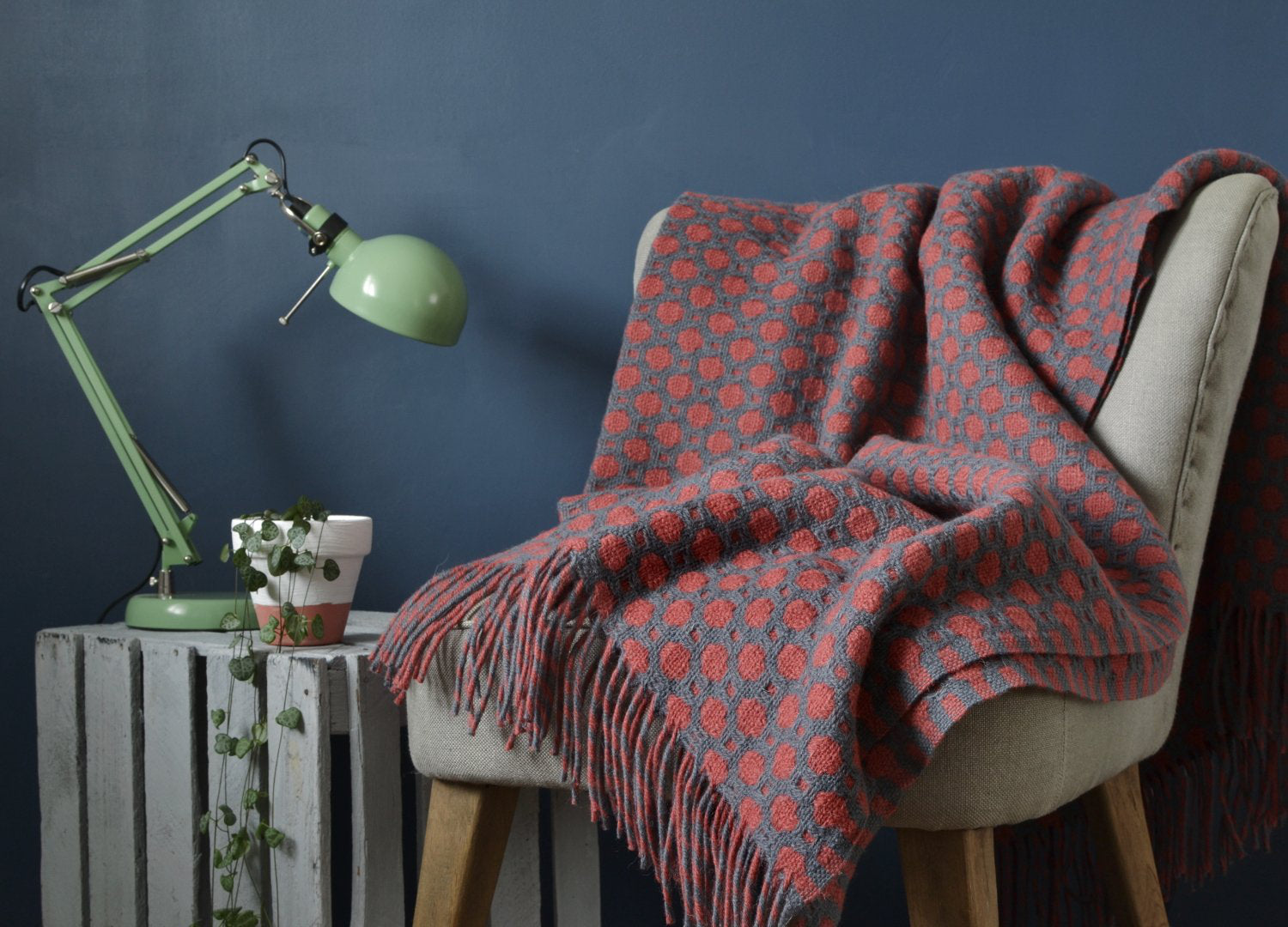 Cosy reading corner with blanket from The British Blanket company