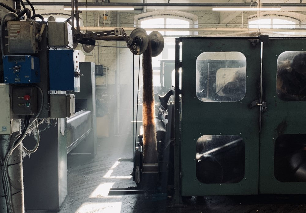 sheeps wool is spun into yarns at the Yorkshire factory