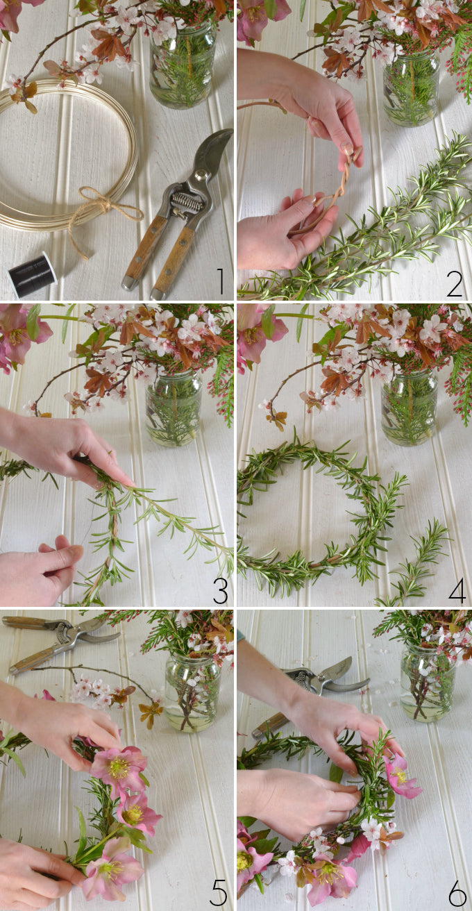 tutorial with steps how to make a flower crown - The British Blanket Company blog
