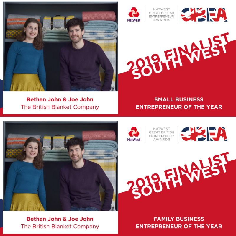 The British Blanket Company finalist in The Great British Entrepreneur Awards Small business of the year and family business of the year 2019