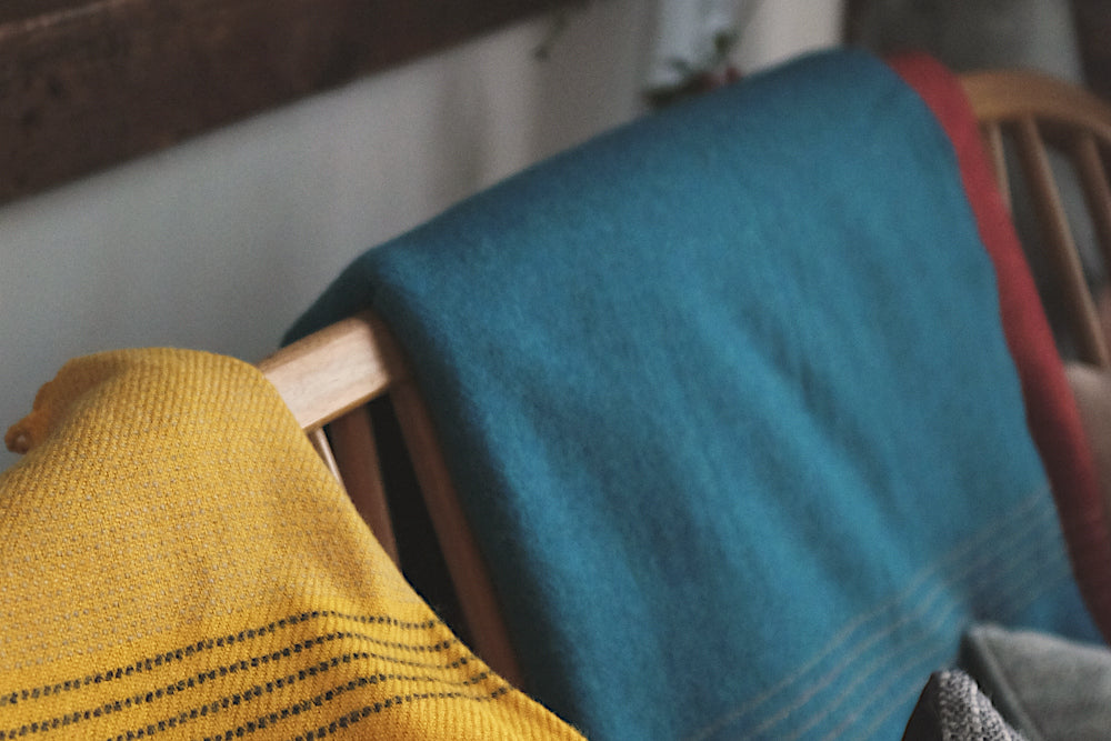 merino lambswool special edition blankets blue and yellow
