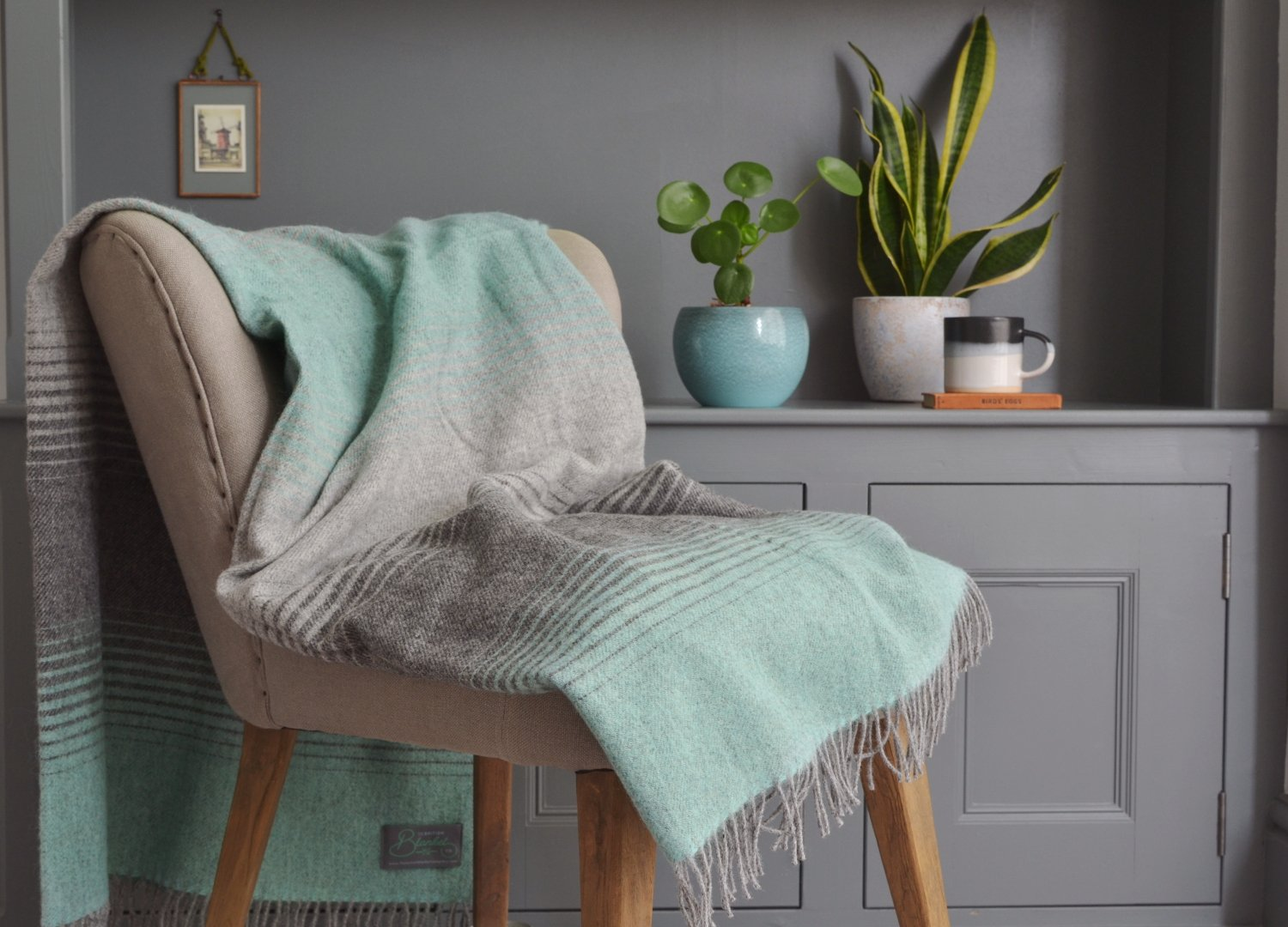 Mint Green Starry Night wool throw The British Blanket Co