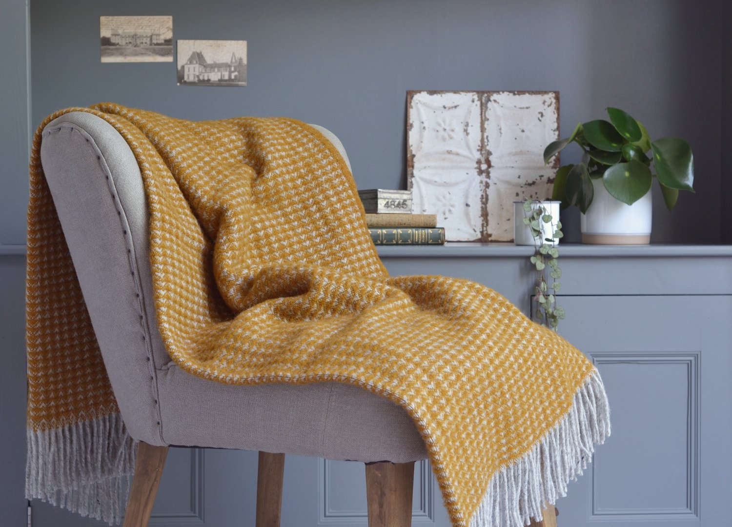 Mustard treetop throw blanket The British Blanket Company