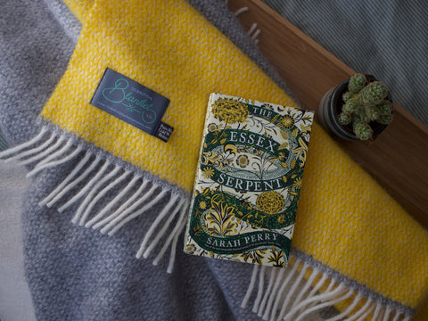 The book, The Essex Serpent is on top of our yellow and grey semaphore throw