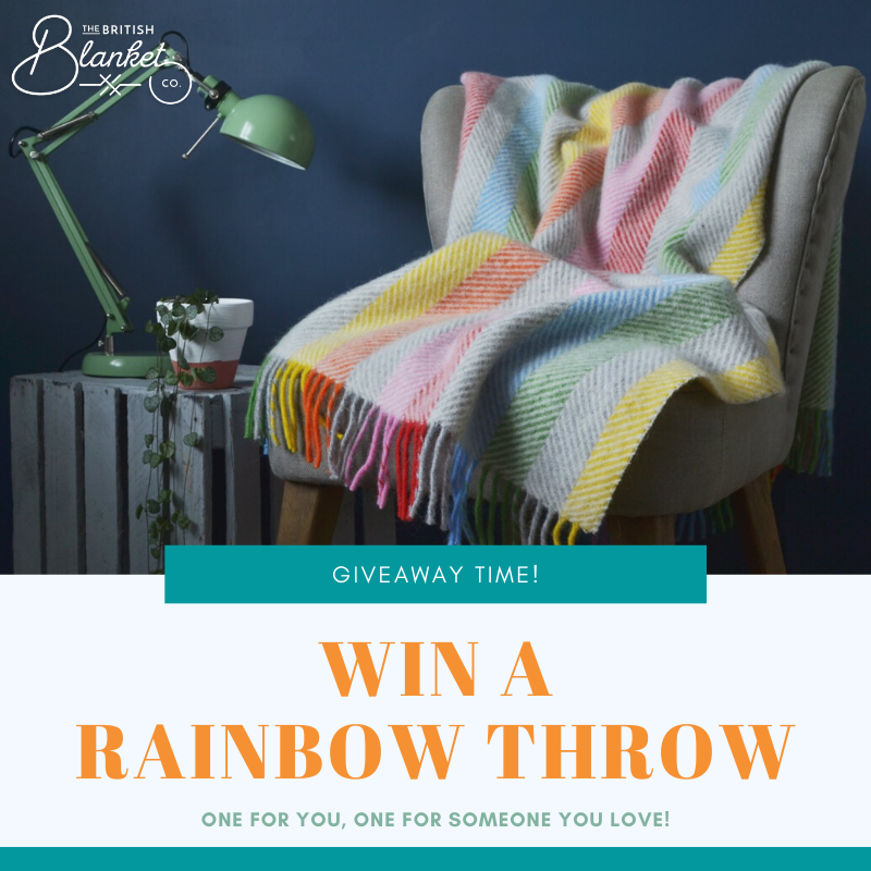 Rainbow throw giveaway The British Blanket Company