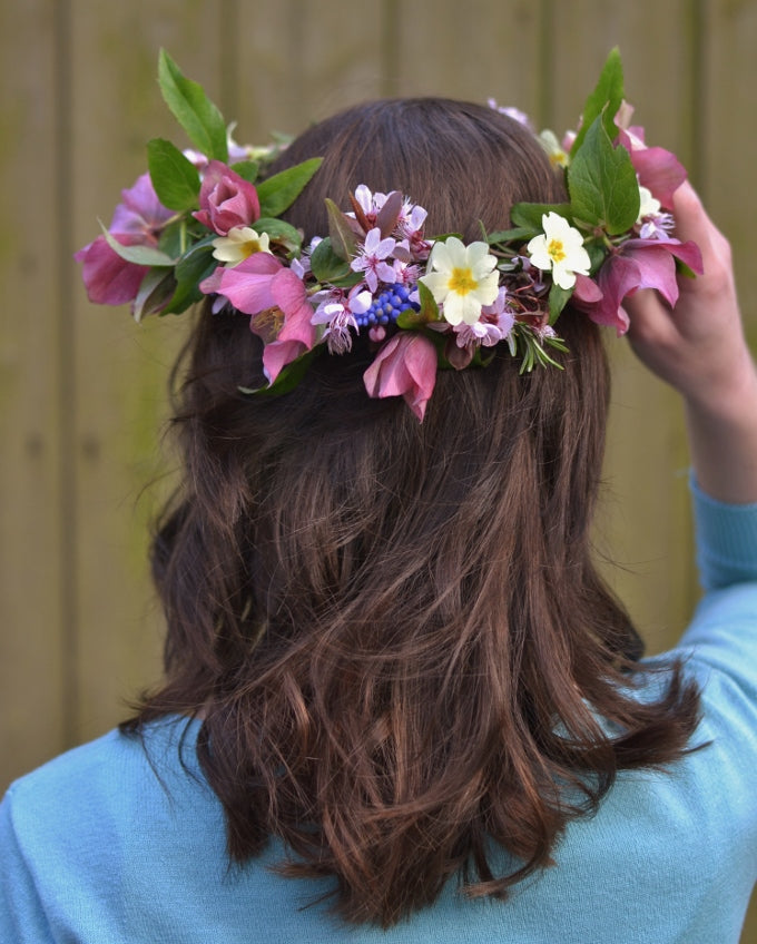 How to make a spring flower crown tutorial - The British Blanket Company blog