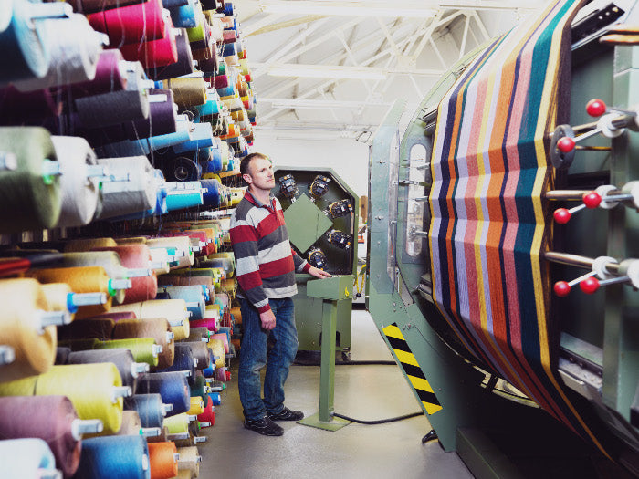 Blankets being woven at the mill in Ireland