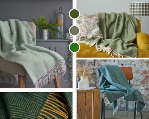 Four blankets in various colours of green are in a collage from The British Blanket Company