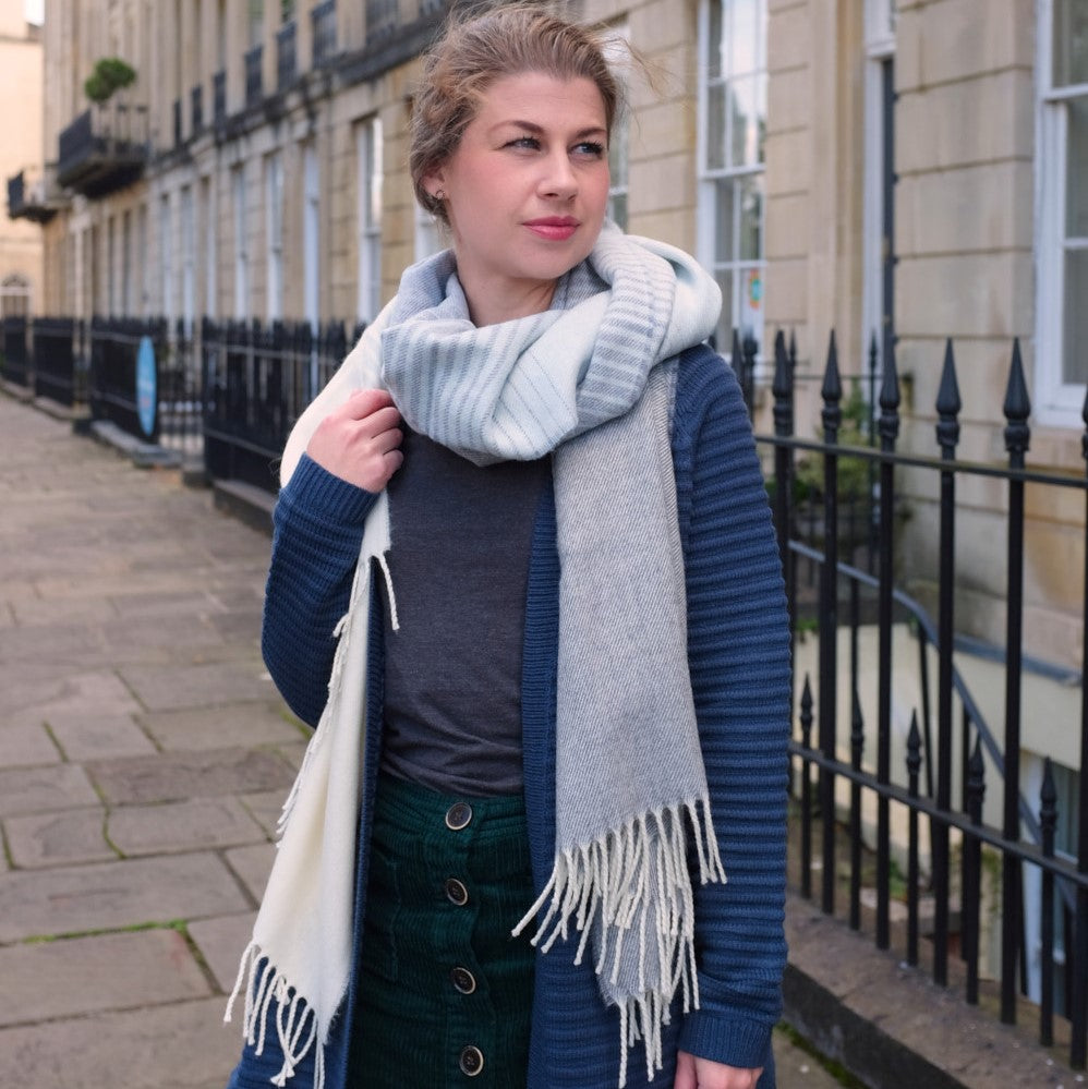 wool blanket scarf classic simple loop modelled in Bristol, UK