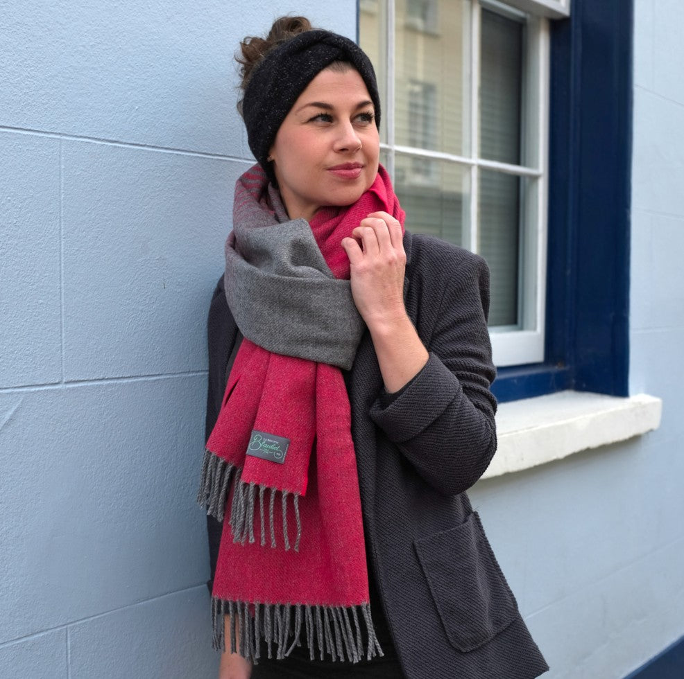 bethan models how to wear wool blanket scarf in euro knot