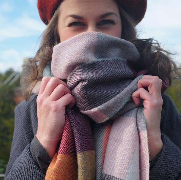 Bethan wears our wool blanket scarf uk