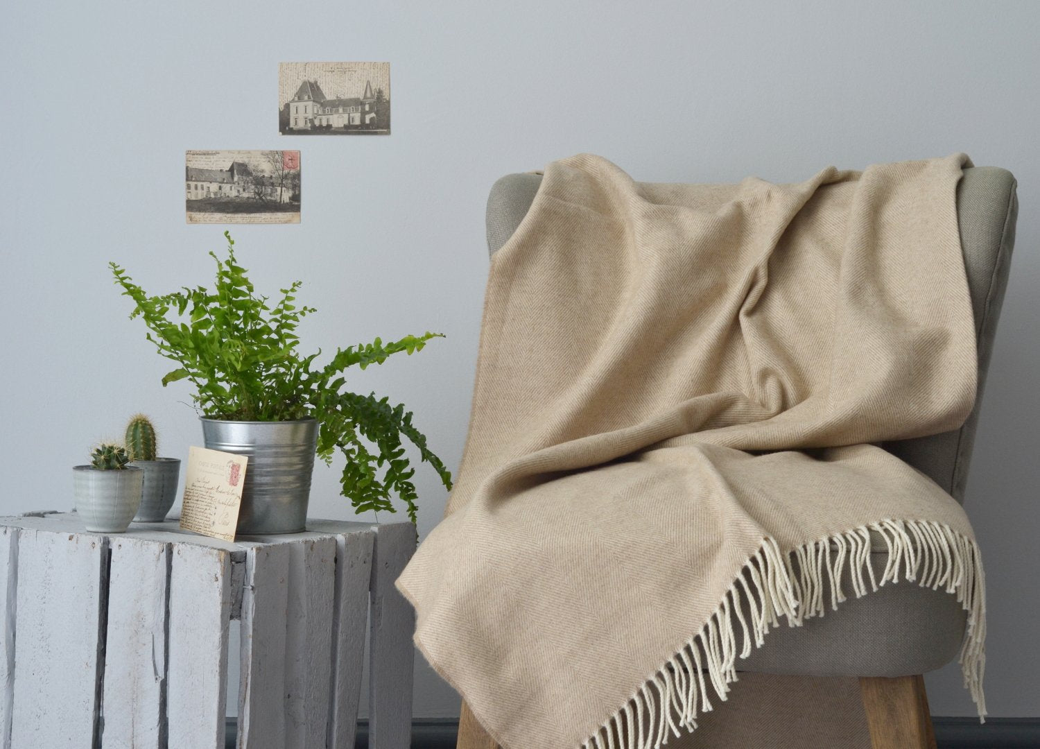 Basswood beige merino lambswool throw The British Blanket Co