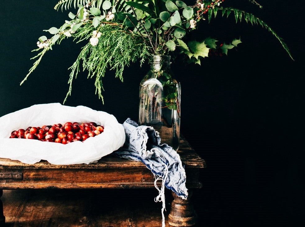 berries and sprigs of foliage make cosy christmas decorations