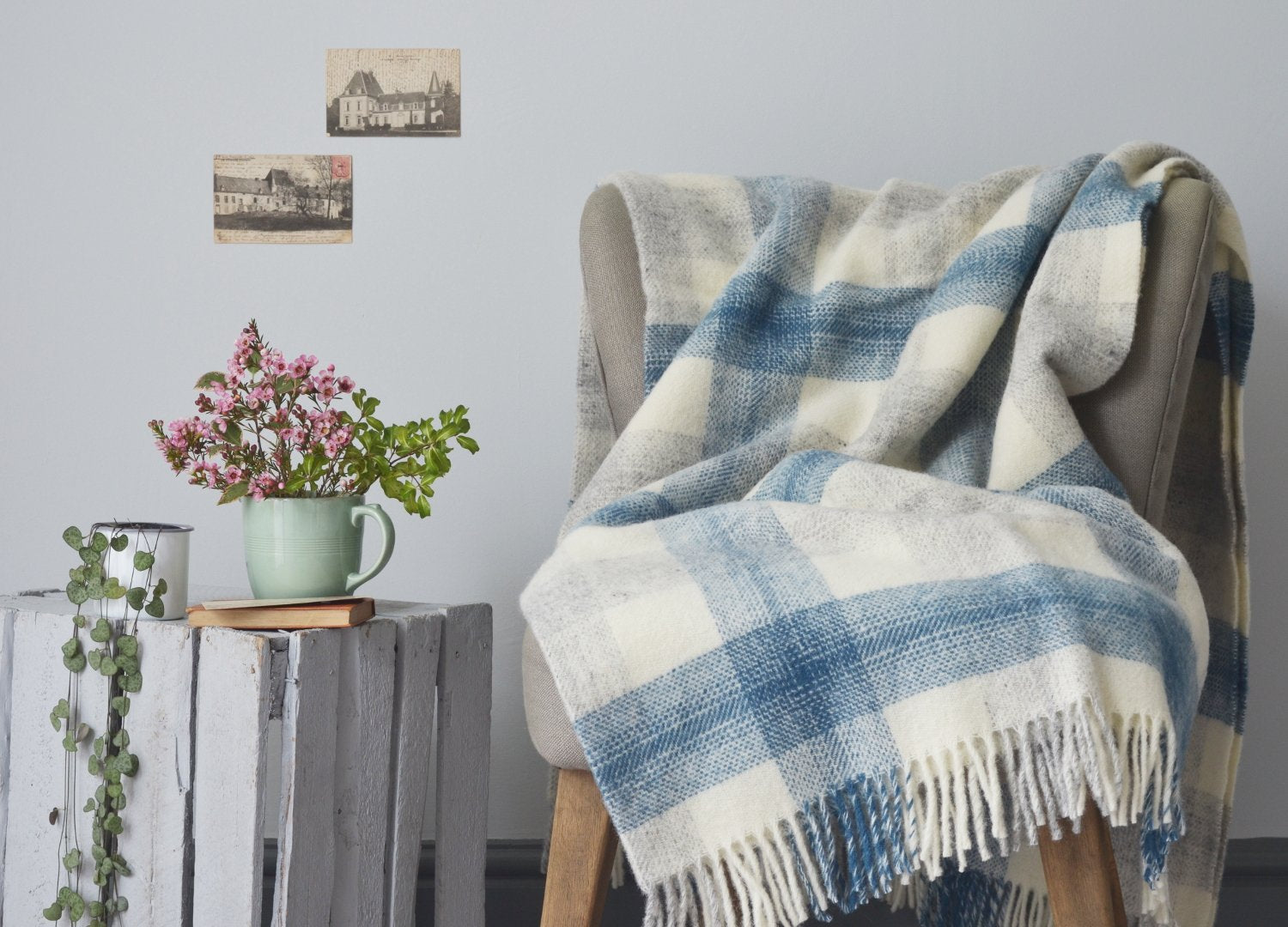Blue Meadow check throw The British Blanket Company