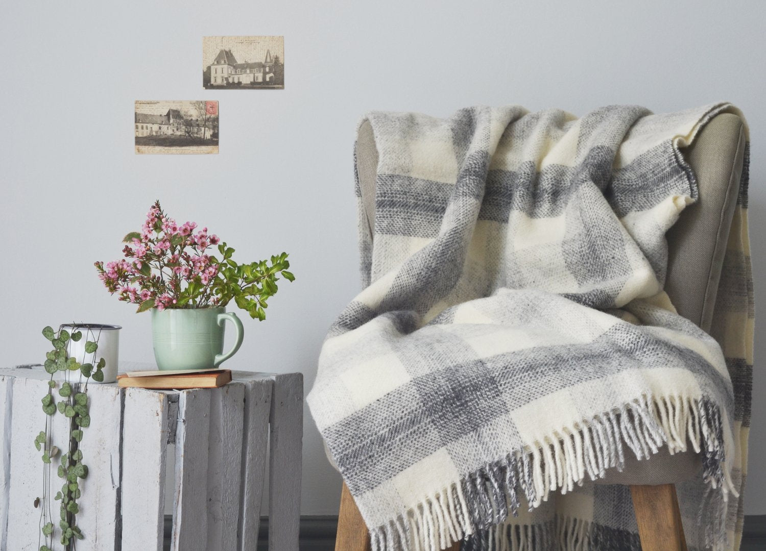 Grey Meadow Check throw The British Blanket Co