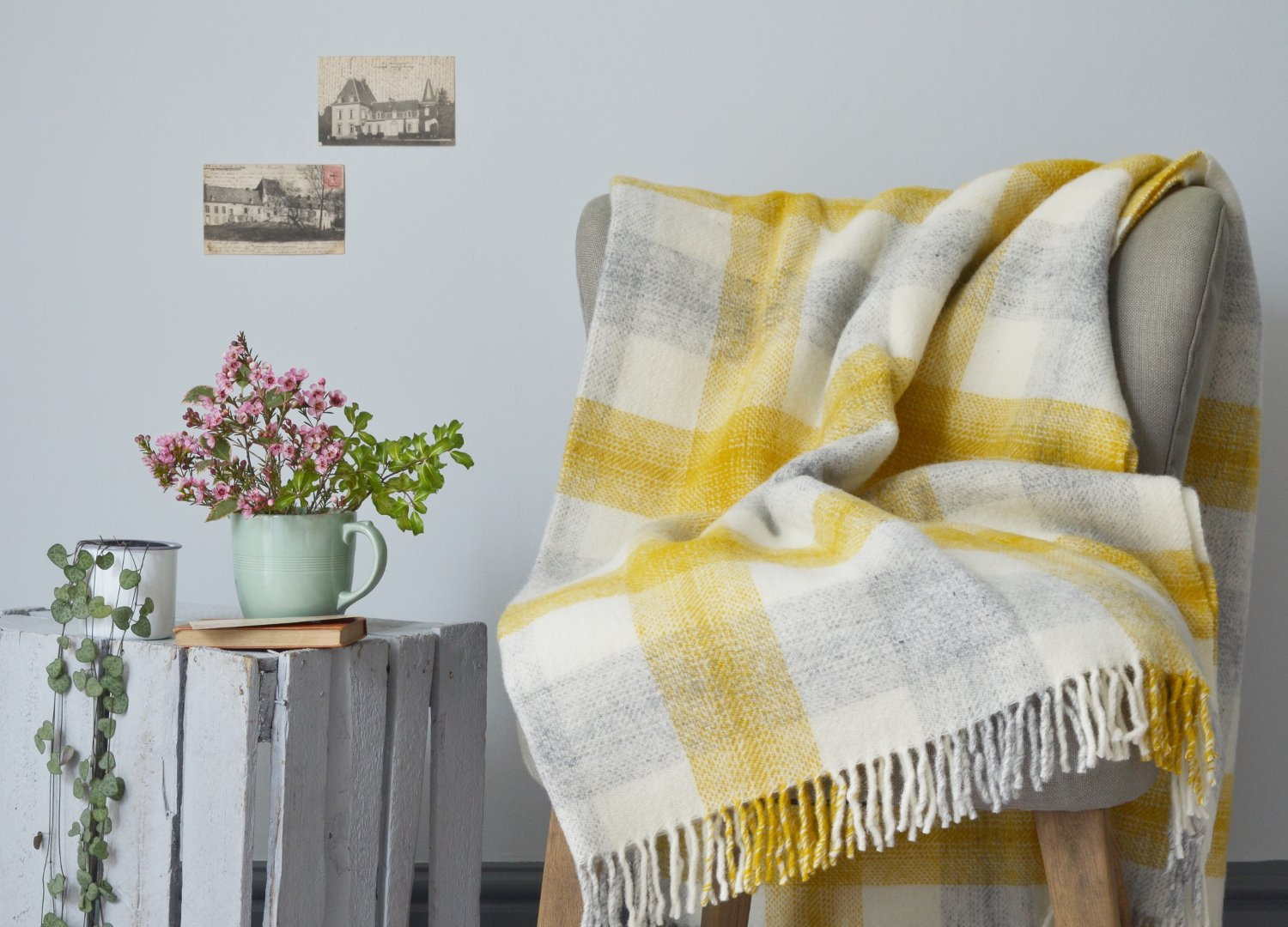 Yellow meadow check throw The British Blanket Company