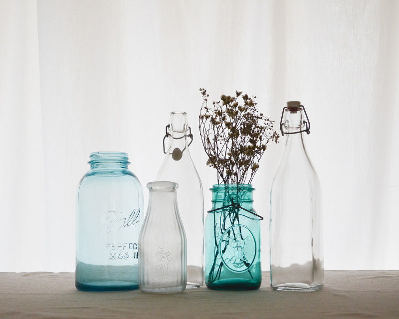 glass bottles spring cleaning
