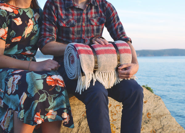 wool picnic blanket luxury leather straps