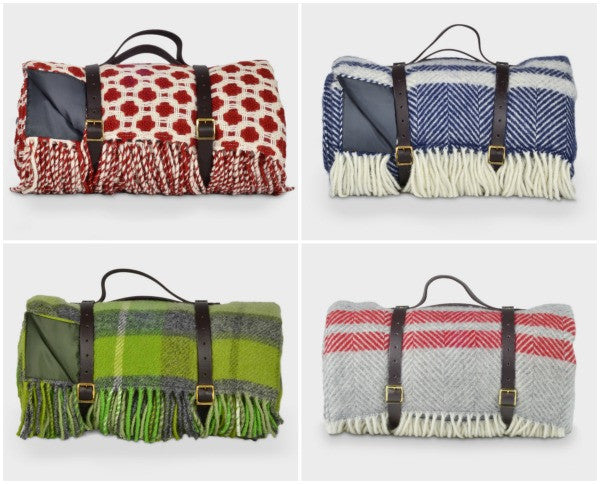 luxury picnic rugs with waterproof backing and leather straps buy at The British Blanket Company online shop