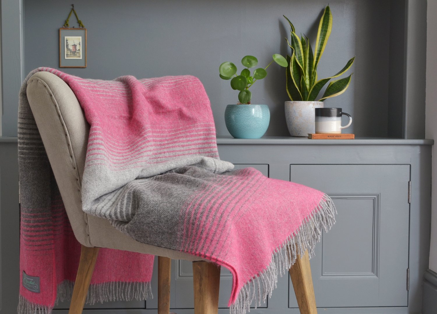 Starry Night pink wool throw blanket The British Blanket Company