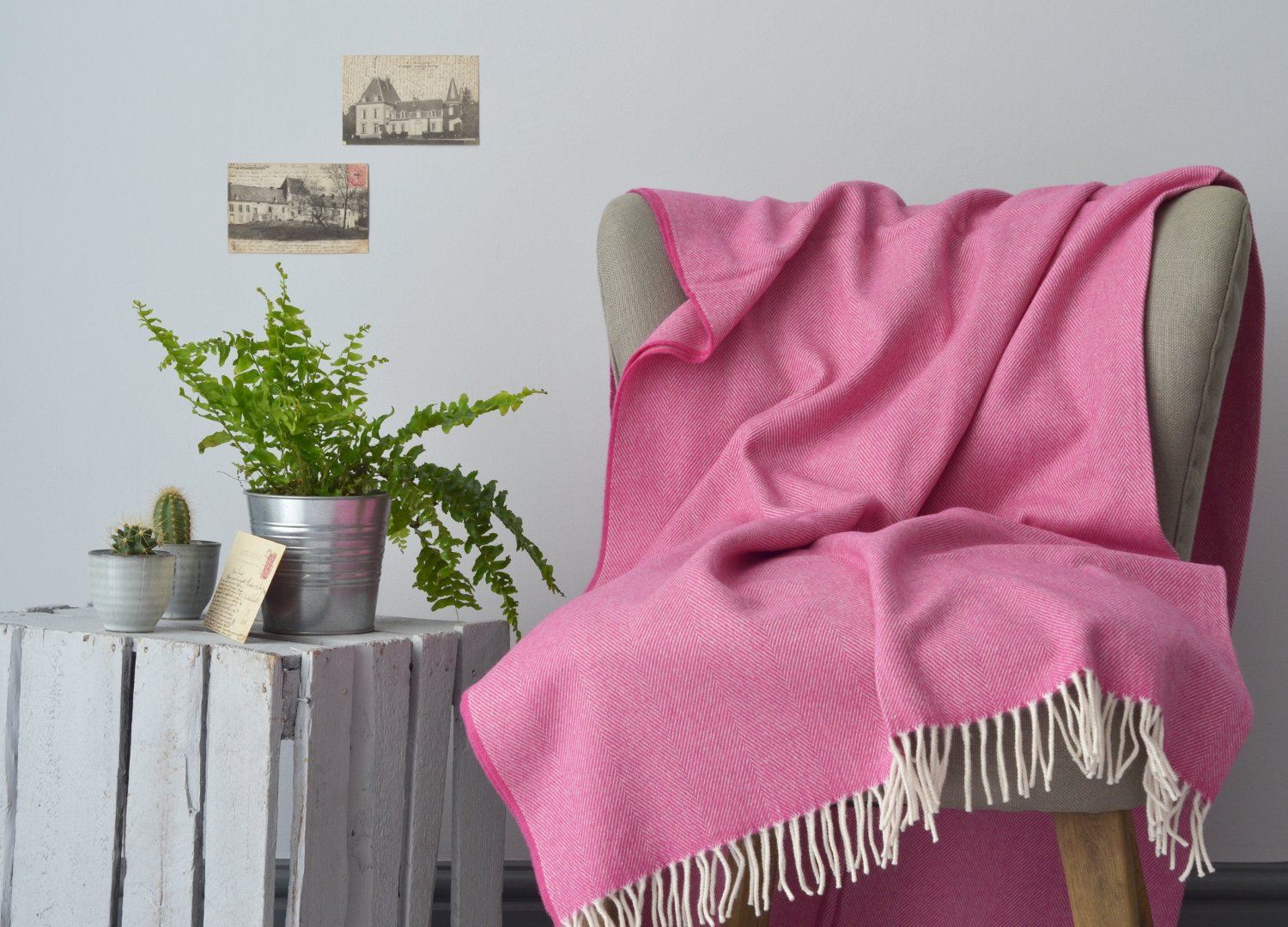 Pink supersoft merino lambswool throw The British Blanket Company