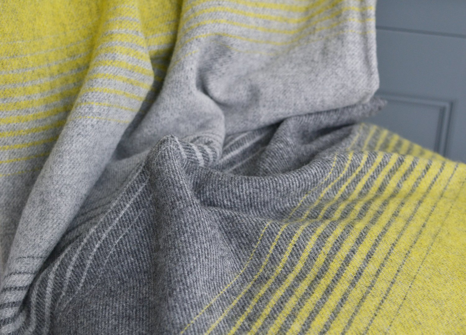 Yellow and Grey Starry Night wool throw The British Blanket Company