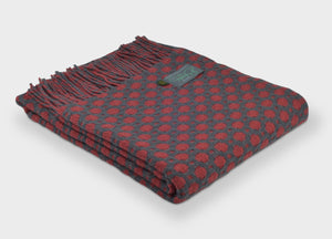 Grey and Redcurrant Crossroads Throw - buy at The British Blanket Company