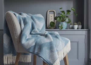 Petrol Blue Prism Throw - buy at The British Blanket Company