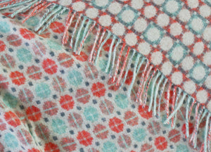 Coral and Mint Geo Merino Lambswool Throw - The British Blanket Company