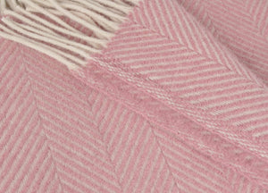 Dusky Pink and Pearl Herringbone Throw - The British Blanket Company