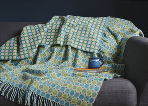 Jade Green and Blue Geo Merino Lambswool Throw - buy at The British Blanket Company