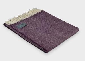 XL Damson Supersoft Merino Herringbone Throw - The British Blanket Company