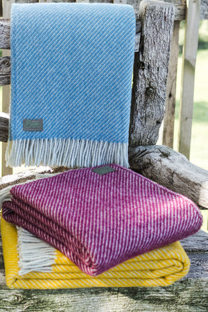 Petrol Blue Diagonal Weave Throw