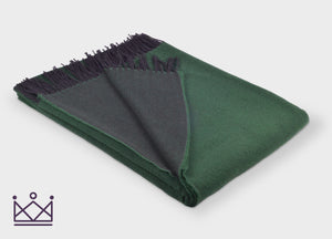 Emerald Green Reversible Merino Lambswool Throw