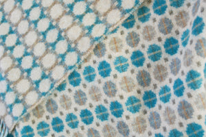 Eucalyptus Blue Geo Merino Lambswool Throw - buy at The British Blanket Company