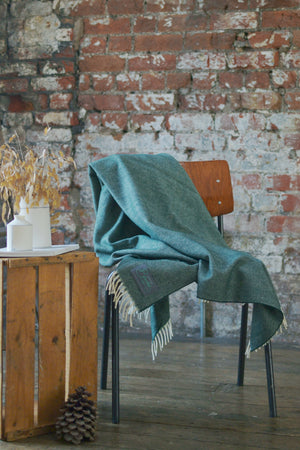 Forest Green Supersoft Merino Herringbone Throw