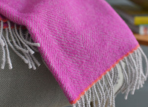 Fuchsia and Orange Edge Herringbone Throw - The British Blanket Company