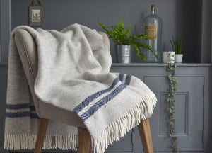 Grey and Navy Blue Herringbone Stripe throw - buy at The British Blanket Company