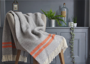Grey and Orange Herringbone Stripe throw - buy at The British Blanket Company