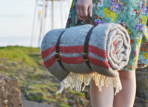 Soft Grey and Red Waterproof Picnic Blanket With Straps - buy at The British Blanket Company
