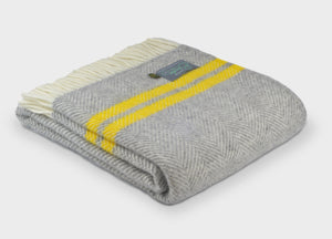 Grey and Yellow Herringbone Stripe Throw - buy at The British Blanket Company
