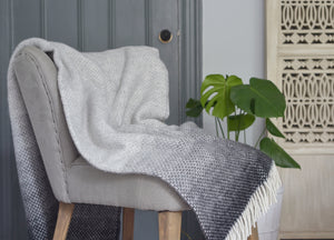Pebble Grey Ombre Throw - buy at The British Blanket Company