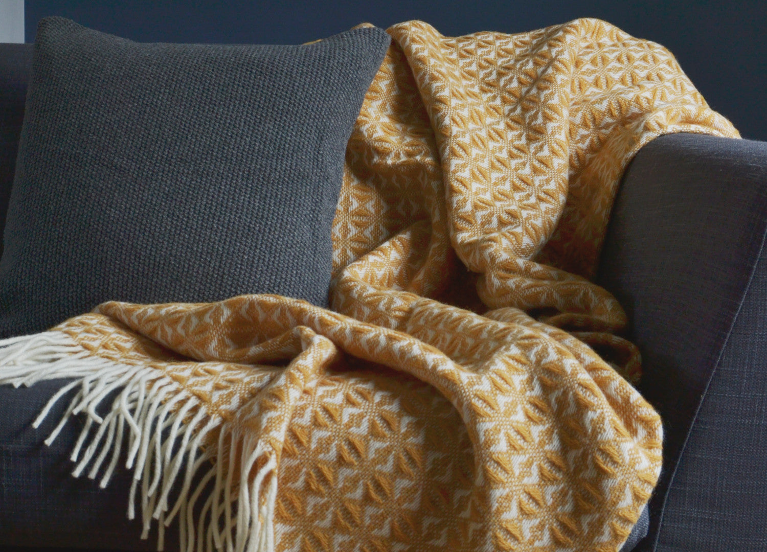 Mustard Yellow Cobweave Throw - buy at The British Blanket Company 75b6435c5